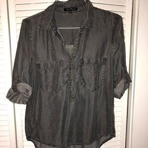 3/4 sleeve half button down shirt
